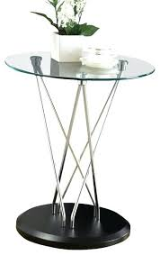 glass top accent table monarch specialties round in chrome end small