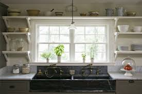 farmhouse kitchen with open shelves