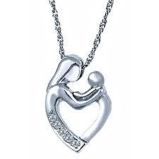 details about diamond mother child heart pendant necklace 18 10k white gold loving family