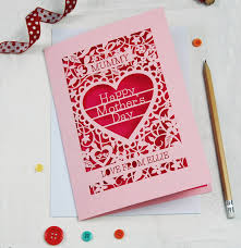 Personalised Papercut Mothers Day Card