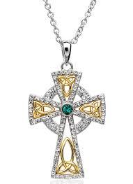 celtic cross gold plated pendant embellished with swarovski crystals
