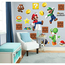 Super Mario Bros Bedroom Decor Super Mario Bros Mario Luigi And Yoshi Giant Wall Decals Combo