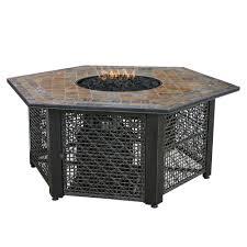 uniflame fire pit. Slate Tile Hexagon Propane Gas Fire Pit In Bronze Uniflame U