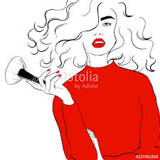 fashion ilration sketch style woman in red sweater with makeup brush in hand makeup artist concept design hand drawn fashion model posing