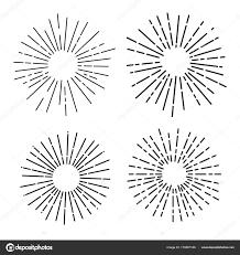 太陽光花火線形描画ベクトル イラストレーターのセットです白い