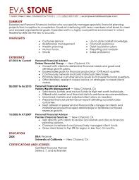 Bussines Plan Best Personal Financial Advisor Resume Example
