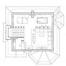 コテージで屋根裏部屋の床家の建築計画を図面ビューの家具とアパートの