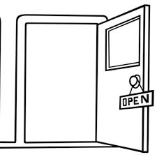 open door clipart black and white. Episode #3 - Making Decisions 06/14 By Doors Close Open | Jobs Podcasts Door Clipart Black And White R
