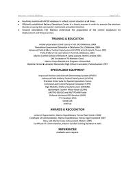Military Resume Marine Corps Examples Samples Police Officer For