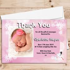 Baby Announcement Cards 10 Personalised Stork Baby Girl Birth Announcement Thank You Photo Cards N78