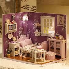 Kits DIY Wood Dollhouse Sofa Miniature With LED Furniture cover