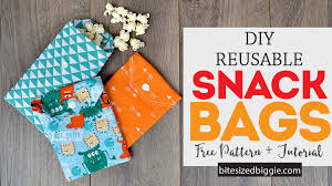 diy reuseable fabric snack bags free pattern and