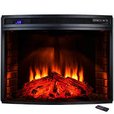 freestanding electric fireplace insert heater in black with curved tempered glass and