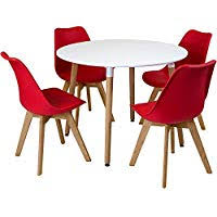 Red dining table set Glass Dining Charles Jacobs Circular Dinner Table Set With Dining Chairs Choice Of Colour Red Amazon Uk Amazoncouk Red Dining Room Sets Dining Room Furniture Home