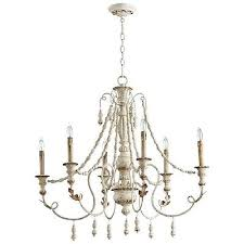 french country vintage lyon six light chandelier persian white 06576 cyan design