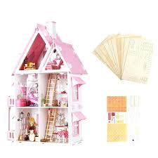 wooden barbie dollhouse furniture. Wooden Barbie Dollhouse Large Kids Doll House Kit Girls Play Mansion Furniture