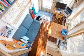 tiny house looking down from loft contemporary living room san francisco