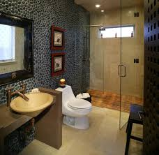 Wood Shower Floor Bathroom Asian with Accent Wall Asian Art