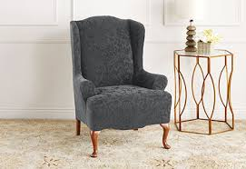 room photo of stretch jacquard damask wing chair slipcover ottoman slipcoverchair slipcoverssure fit