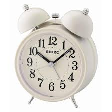 seiko qhk035c quiet sweep second hand bell alarm clock with light snooze new