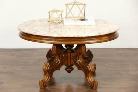 victorian style vintage carved walnut oval coffee table rose marble top