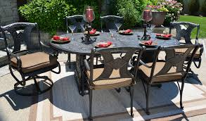 amalia 6 person luxury cast aluminum patio furniture dining set with swivel chairs