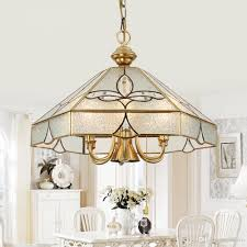 2018 european pure copper living room pendant light study room diamond glass shade copper pendant lamp bedroom carved pendant light from ouovo