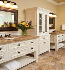 furniture white wooden cabinet with drawers and brown granite bathroom vanity top on brown tile