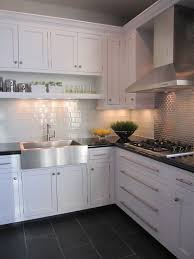 Kitchens With Gray Floors Kitchen White Cabinet Dark Grey Floor Tiles Stuff Pinterest