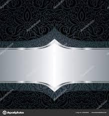 Decoratieve Zwarte Zilveren Bloemen Luxe Ontwerp Van Het Patroon Van