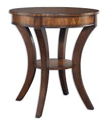 round rustic dark brown wooden side table with shelf and curve
