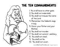 Small Picture Ten Commandment Coloring Page