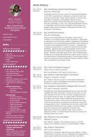 Anesthesiologist Resume Stunning Epic Anesthesia Instructional Designer Resume Example ID Resumes