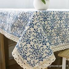 retro blue and white table cloth with lace cotton print chinese style rectangular dinning tablecloths cover home decor zb 9 white round tablecloth linen