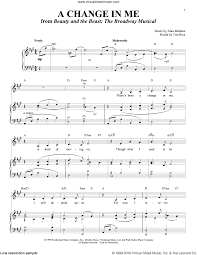 a change in me beauty and the beast sheet music rice a change in me sheet music for voice and piano