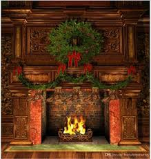 indoor fireplace photography backdrops vintage furniture green pine garland socks kids photo background wood floor background fireplace