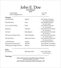 Theatrical Resume Template 10 Acting Resume Templates Free Samples Examples  Formats Template