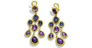 lyst david yurman chandelier earrings with amethyst and diamonds in gold in metallic