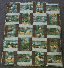 Hand-Crafted-Houseware | Buy handmade goods for your home & Lap Quilt Moose Deer and Elk Rail Fence Pattern Adamdwight.com