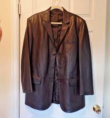details about alfani for macys very nice dark brown soft leather jacket men s sz 40 nwot