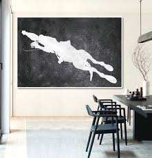 hand painted extra large abstract painting horizontal acrylic painting large wall art black and