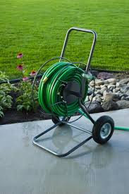 a rugged all terrain hose cart that doesn t kink hoses and won t leak break or rust after only a few short years the 2 wheel ez hose cart