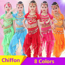 2019 2018 Girl Children Belly Dance Costumes Chiffon 120D Sequin Clothing  For Kids Genie Fringe Dance Pants Gypsy Clothes From Fangfen, $31.77 |  DHgate.Com