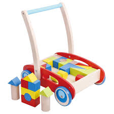 pidoko kids block and roll cart wooden push and pull toy activity baby walker red