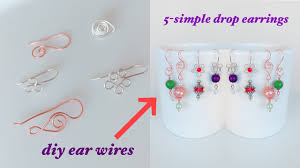 How To Design Earrings Jewellery How To Make Ear Wires 5 Easy Pearl And Crystal Earring Designs Handmade Jewelry Pearl Drop Earrings