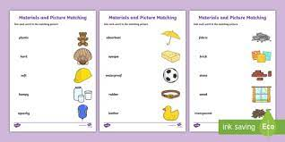 A collection of english esl worksheets for home learning, online practice, distance learning and english classes to teach about science, science. Materials Word And Picture Matching Worksheet Teacher Made