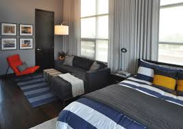 Full Size Of Room Design: Awesome Bachelor Bedroom Designs With Manly In  The Large Bed ...