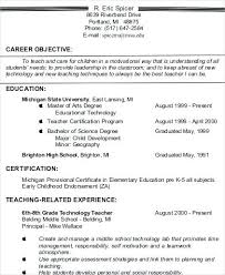 Example Resume For Teachers Classy Best Objective Statement For Resume Teacher Resume Objective 48