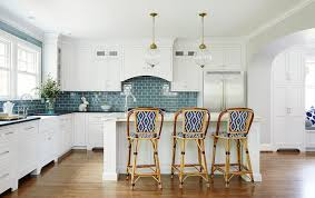 kitchen with blue subway tiles transitional kitchen amie corley 740x466