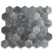 bardiglio gray 2 inch hexagon mosaic tile polished marble from italy